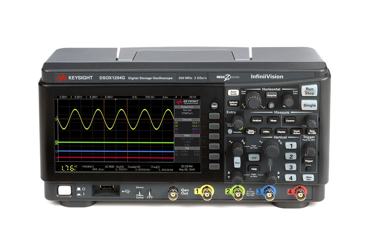 Keysight DSOX1204A/G front view with 4-channel and an intuitive user interface