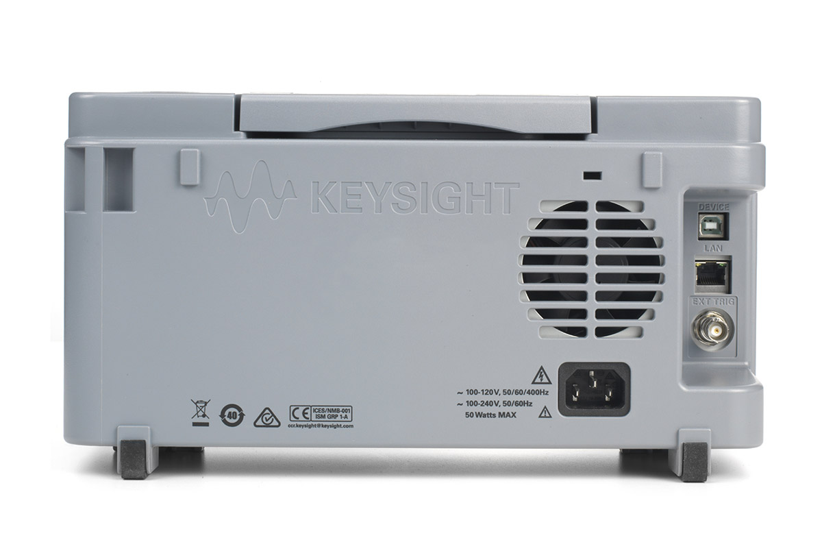 Keysight DSOX1204A/G rear view with standard LAN and USB connectivity